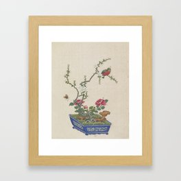 Vintage Chinese Bonsai Botanical Ink and Brush Painting-Flowers and Birds Framed Art Print