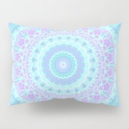 Cyan, Turquoise, and Purple Kaleidoscope Pillow Sham