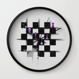 Chessboard and Amethyst  Chess Pieces composition Wall Clock