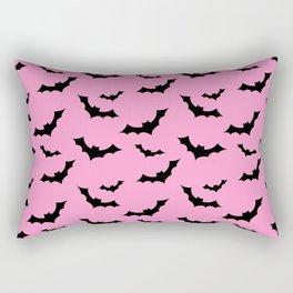 Black Bat Pattern on Pink Rectangular Pillow