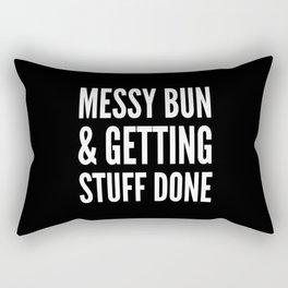 Messy Bun & Getting Stuff Done (Black & White) Rectangular Pillow