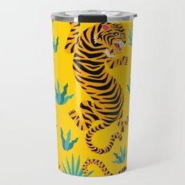 Yellow Tiger Tropical Pattern Travel Mug
