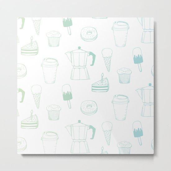 Coffee and Dessert Metal Print