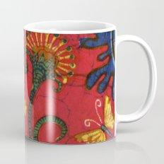 batik butterflies and flowers on red 2 Mug