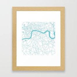 London White on Turquoise Street Map Framed Art Print