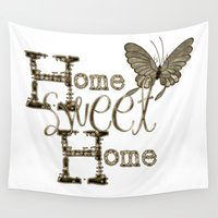 home sweet home Wall Tapestries featuring Home Sweet Home Sepia by CatDesignz