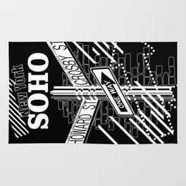 SoHo, New York Streets- white on black Rug