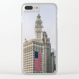 Chicago Wrigley Building in a Foggy Day Clear iPhone Case