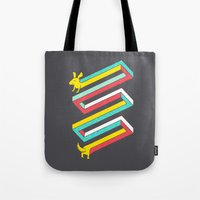 physics Tote Bags featuring Physics doesn't apply to weiner dogs by Eleanor Lutz
