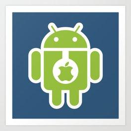 Android eats Apple Art Print