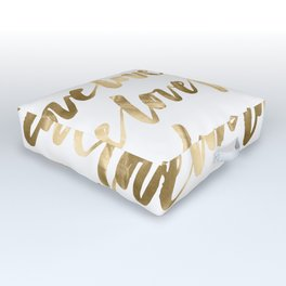 Gold Love Quote Pattern Typography Script 2 Outdoor Floor Cushion