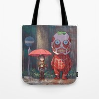 attack on titan Tote Bags featuring My Neighbor Titan by Ron Chan