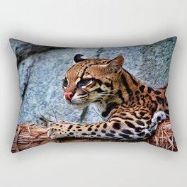 Ocelot Painted Rectangular Pillow