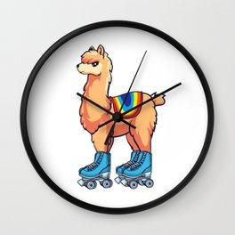 Cute Roller Skating Alpaca Rolling Llama Wall Clock