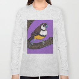 Owl Finch on Branch with Purple Sky, colored pencil, 2010 Long Sleeve T-shirt