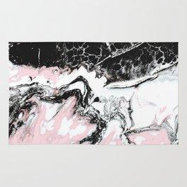 pink and black marble Rug