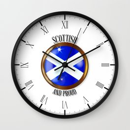 Scottish Proud Flag Button Wall Clock
