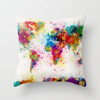 map Throw Pillows featuring Map of the World Map Paint Splashes by artPause