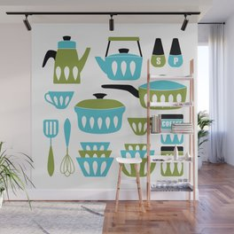 My Midcentury Modern Kitchen In Aqua And Avocado Wall Mural
