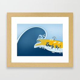 Surfs Up Again in Blue and Yellow Framed Art Print