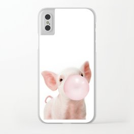 Bubble Gum Baby Pig Clear iPhone Case