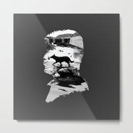 Stalker Dog Scene Silhouette Metal Print