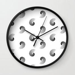 Nautilus Pattern on White Wall Clock