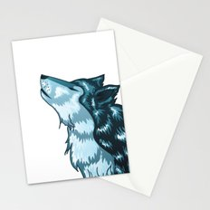 Howling wolf head Stationery Cards