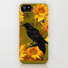 CROW & SUNFLOWERS KHAKI ART iPhone Case
