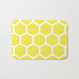 Honeycomb Pattern Lemon Yellow Bath Mat