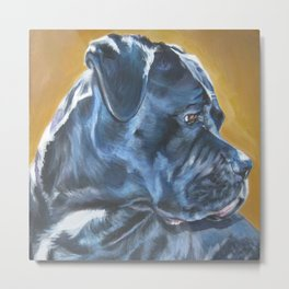 A Cane Corso dog portrait from an original painting by L.A.Shepard Metal Print