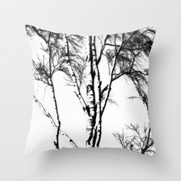 Silver Birch In Winter Throw Pillow