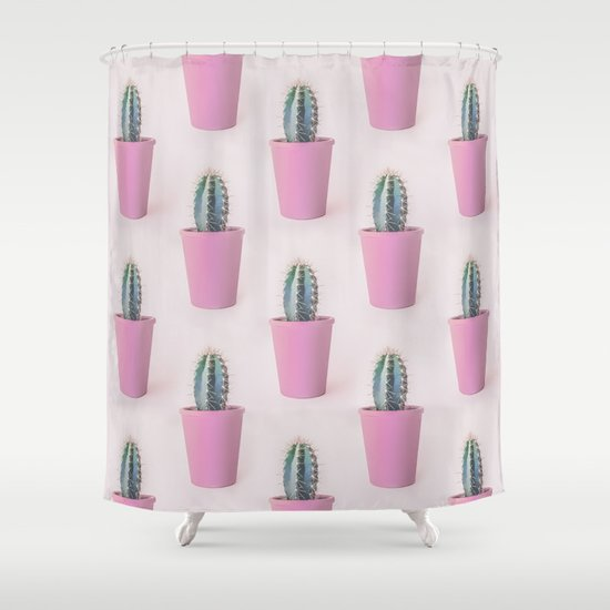 Single Cactus Pot In Soft Pastel Colors Shower Curtain By
