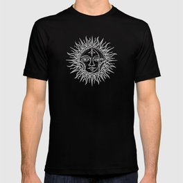 Sun Moon Face - Silver-Grey T-shirt