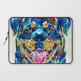 Colorful Rottie Art - Rottweiler by Sharon Cummings Laptop Sleeve