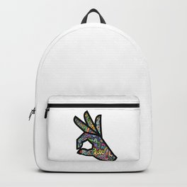Okay Hand Sign Psychedelic Trippy Watercolor OK Gesture  Backpack
