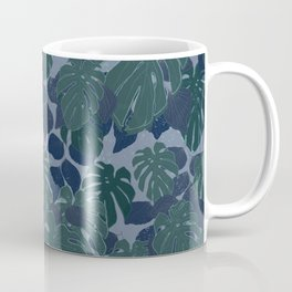 Tropical Blue and Turquoise Monstera Plant Pattern Coffee Mug