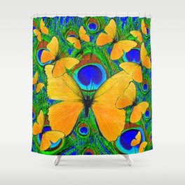 FLUTTERING YELLOW SPRING BUTTERFLIES ON GREEN Shower Curtain