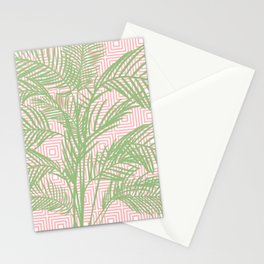 Retro Tropical Palm Trees and Geometric Square Pattern in Modern Pink and Green Stationery Cards