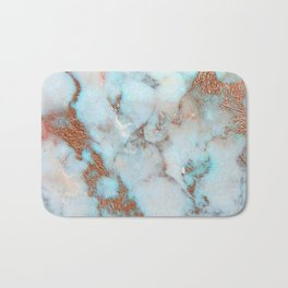 Rose Marble with Rose Gold Veins and Blue-Green Tones Bath Mat