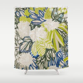 White chrysanthemums -ink floral Shower Curtain