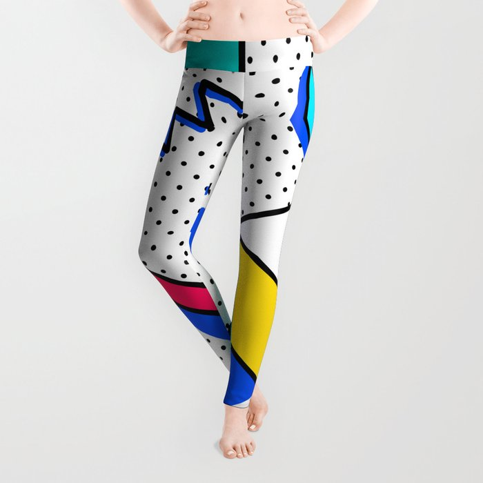 Patern in memphis, pop art style Leggings