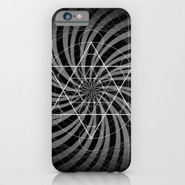 Metatron's Cube Grayscale Spiral of Light iPhone Case