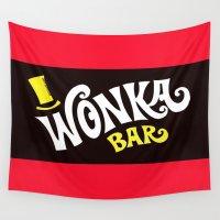 bar Wall Tapestries featuring Wonka's Bar Chocolate by Janismarika