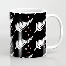 New Zealand Silver Fern Flag Black Pattern Coffee Mug