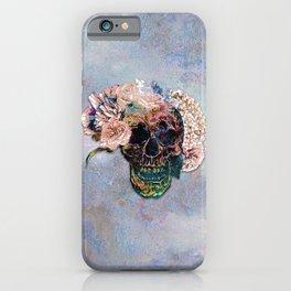Skull Flowers - MidnightBlue iPhone Case