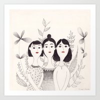 sisters Art Prints featuring Sisters by Charline Denys