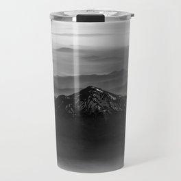 The West is Burning - Mt Shasta Black and White Travel Mug