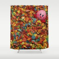 kirby Shower Curtains featuring Kirby Pebbles by Cody Ramsey