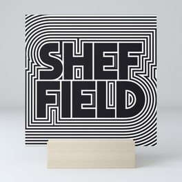 Sheffield England Black & White Outline Text Pattern Mini Art Print